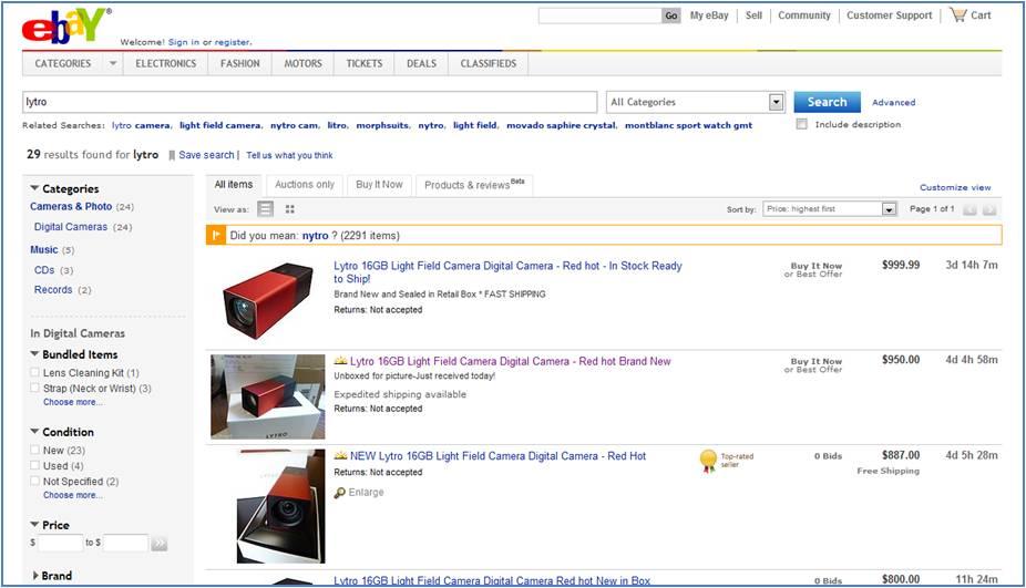 eBay Lytro Lichtfeldkamera Screenshot